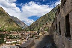 L'Inca d'Ollantaytambo ruine, dans la vallée sacrée, le Pérou Image stock