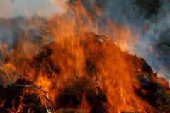 L'incendio violento della cotenna grigliata come fiamma lecca all'aria immagine stock