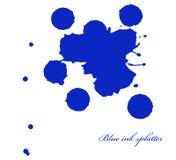 L'inchiostro blu schizza sul bianco Immagine Stock Libera da Diritti