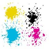 L'inchiostro di CMYK spruzza Immagini Stock Libere da Diritti