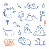 L'inchiostro di Dino scarabocchia l'insieme di vettore del fumetto Fotografia Stock