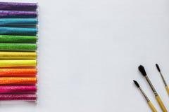 L'inchiostro di immagine di sfondo ed altri strumenti di disegno Immagine Stock Libera da Diritti