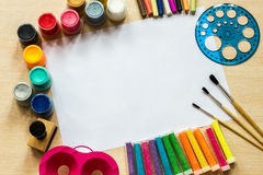 L'inchiostro di immagine di sfondo ed altri strumenti di disegno Fotografie Stock