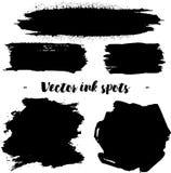 L'inchiostro nero spruzza isolato su fondo Illustrazione di vettore Elementi di progettazione o fondo di lerciume Fotografia Stock