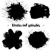 L'inchiostro nero spruzza isolato su fondo Illustrazione di vettore Elementi di progettazione o fondo di lerciume Immagine Stock