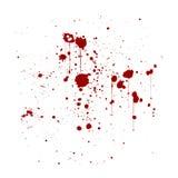 L'inchiostro rosso schizza il fondo, isolato su bianco Fotografia Stock