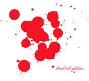 L'inchiostro rosso schizza sul bianco Fotografia Stock Libera da Diritti