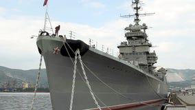 L'incrociatore Mikhail Kutuzov - il nave-museo stock footage