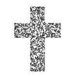 L'incrocio da un ornamento floreale su un fondo bianco illustrazione vettoriale