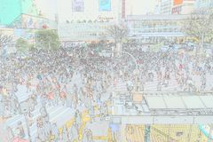 L'incrocio di Shibuya è uno degli attraversamenti più occupati nel mondo Immagini Stock Libere da Diritti