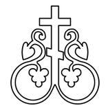 L'incrocio religioso del monogramma della vite trasversale di simbolo del segno segreto trasversale di comunione ancora pianament royalty illustrazione gratis
