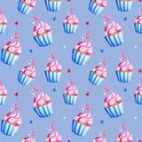 L'indépendance d'illustration des Etats-Unis Modèle de petit gâteau d'aquarelle pour le 4ème juillet Conception pendant des vacan illustration libre de droits
