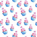 L'indépendance des Etats-Unis Modèle de petit gâteau d'aquarelle pour le 4ème juillet Illustration pendant des vacances, copie, b illustration libre de droits