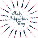 L'indépendance heureuse de l'Amérique de jour, sur un fond blanc, résumé, avec des étoiles Images libres de droits