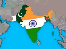 L'Inde britannique avec des drapeaux sur la carte 3D illustration libre de droits