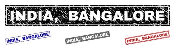 L'INDE grunge, BANGALORE a donné à des filigranes une consistance rugueuse de rectangle illustration libre de droits