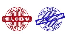 L'INDE grunge, CHENNAI a donné aux joints une consistance rugueuse ronds de timbre illustration stock