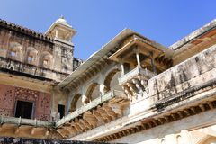 l'Inde jaipur Paysage ambre de ville de fort dans le jour ensoleill? photographie stock libre de droits