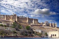 l'Inde jaipur Paysage ambre de ville de fort dans le jour ensoleill? images libres de droits