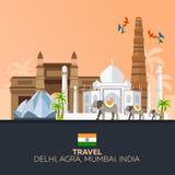 l'Inde tourisme Indien de déplacement d'illustration Conception plate moderne Éléphant d'Asie Le Taj Mahal, temple de Lotus, pass Image libre de droits