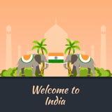 l'Inde tourisme Indien de déplacement d'illustration Conception plate moderne Éléphant d'Asie Le Taj Mahal, temple de Lotus, pass illustration stock