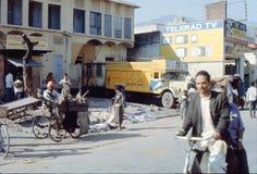 1977 l'Inde Un homme vendant la peau et les os d'un chariot Photographie stock libre de droits