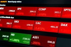 L'index de capitaux propres étiquette avec les couleurs des prix, rouges et vertes Images stock