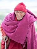 Monaco buddista tibetano anziano in Ladakh L'India Fotografie Stock Libere da Diritti