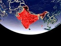 L'India alla notte da spazio illustrazione di stock