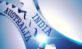 L'India - l'Australia Ruote dentate metalliche 3d Fotografia Stock