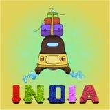 L'India - fondo con il risciò variopinto del modello e il ` dell'India del ` dell'iscrizione Fotografia Stock