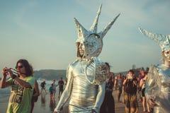 L'India, Goa - 2 febbraio 2016: Carnevale strano annuale in Arambol Fotografie Stock