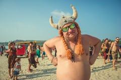 L'India, Goa - 21 febbraio 2017: Carnevale strano annuale in Arambol Fotografia Stock Libera da Diritti