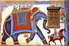 L'India, Mandawa: affreschi colourful Fotografia Stock Libera da Diritti