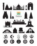 L'India obietta la siluetta delle icone Fotografia Stock