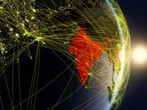 L'India su pianeta Terra di reti fotografie stock