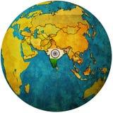 L'India sulla mappa del globo Fotografia Stock