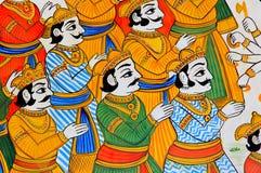 L'India, Udaipur: affresco su una parete Immagine Stock Libera da Diritti