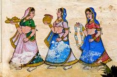 L'India, Udaipur: affresco su una parete Fotografie Stock Libere da Diritti