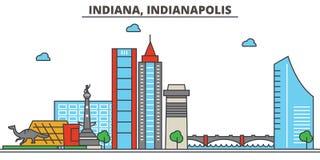 L'Indiana, Indianapolis Horizon de ville Images stock