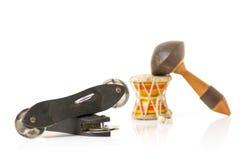 L'indiano tamburella il damaru, il maracas e lo strumento di Khartal Fotografia Stock