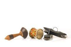L'indiano tamburella il damaru, il maracas e lo strumento di Khartal Fotografia Stock Libera da Diritti