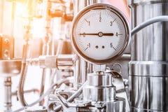 L'indicateur de pression du liquide hydraulique, flèche indique zéro Images stock