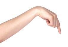 L'indication par les doigts ou le contact de la femme Photos libres de droits