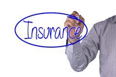 L'indicatore della scrittura di concetto di affari e scrive l'assicurazione isolata su fondo bianco Fotografia Stock Libera da Diritti