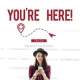 L'indicatore di posizione della città di GPS di navigazione esplora il concetto fotografie stock