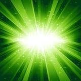 L'indicatore luminoso verde ha scoppiato con le stelle Fotografia Stock Libera da Diritti