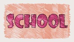 L'indicatore variopinto disegnato si prepara per l'animazione senza cuciture del fondo del ciclo di parola della scuola - allegro illustrazione di stock