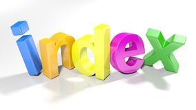 L'indice variopinto 3D scrive - la rappresentazione 3D Fotografia Stock Libera da Diritti
