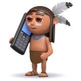 l'Indien d'Amerique 3d indigène cause sur le téléphone portable Photos libres de droits